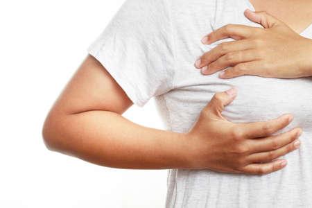 Health problem concept,woman pain breast Imagens