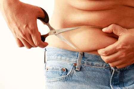 Obese men have excess fat Imagens