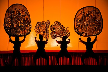 Nang yai shadow puppet drama at wat khanon temple,Thailand Stock Photo - 7135619