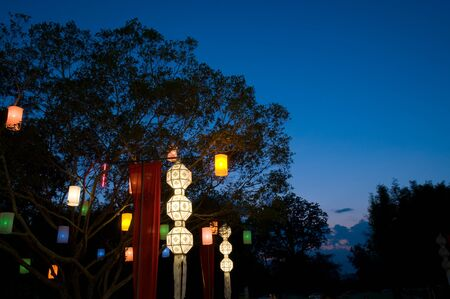 colorful lantern: colorful lantern on the tree in evening at Yee Peng festival  Chaing Mai province Thailand