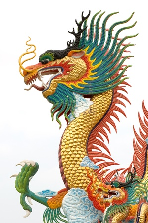 chinese new year dragon: Chinese dragon statue on white background