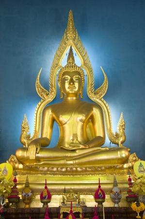 awakened: beautiful image of buddha at Wat Benjamaborpit Bangkok Thailand Stock Photo