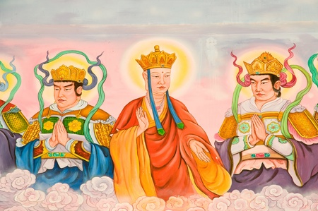 tradition Chinese painting on Chinese temple wall at Phetchaburi province Thailand