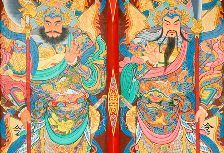tradition Chinese painting on Chinese temple door Rayong province Thailand