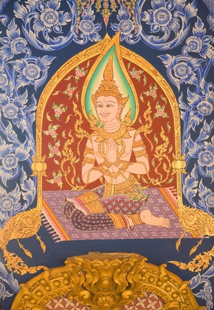 beautiful mural tradition thai style on the wall at Wat Phramahajedi Chaiyamongkol Roi Et province Thailand