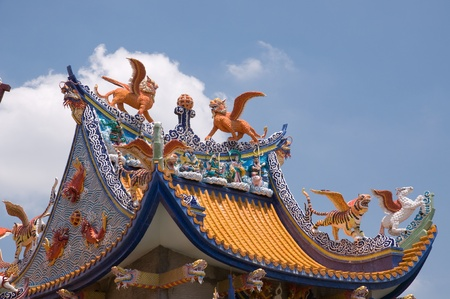 beautiful decorated on Chinese temple roof at Nakhonpathom province Thailand photo