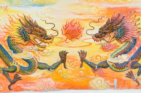 taoism: dragon painting on Chinese temple wall at Nakhonprathom province Thailand