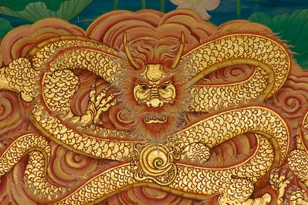 teng: dragon painting on Chinese temple wall at Nakhonprathom province Thailand