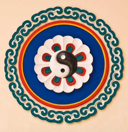 yin yang sign on Chinese temple wall photo