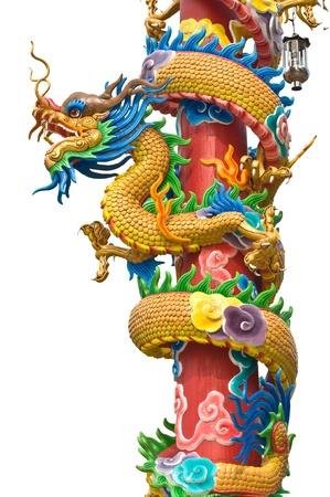 dragon statue on pillar  with white background photo