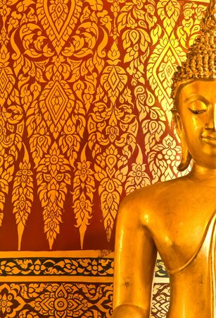 beautiful image buddha statue and mural Thai style at Wat Panan Choeng,Ayutthaya province Thailand photo