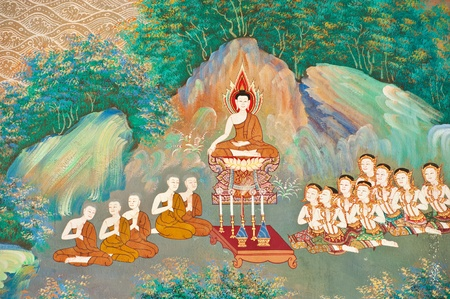 mural in native thai style painting on the wall of Buddhist church,Thailand