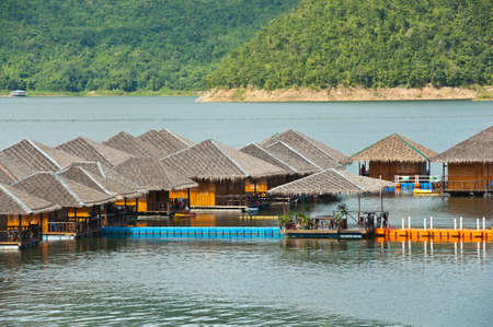 houseboat on lake at Kanchaburi province Thailand photo