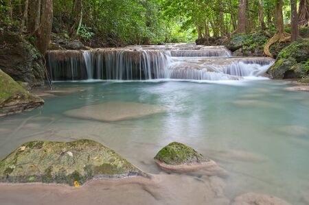 eravan: waterfall in tropical forest at Eravan national park Kanchanaburi province Thailand