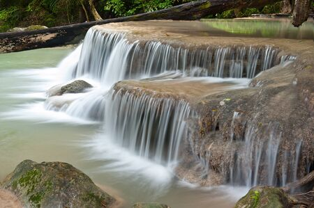 waterfall in tropical forest at Eravan national park Kanchanaburi province Thailand Stock Photo - 13243327