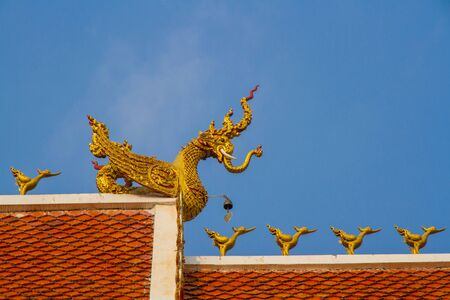 apex: roof style of thai temple with gable apex on the top Stock Photo