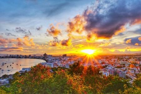 Beautiful sunrise with panorama view in Pattaya city, Thailand.