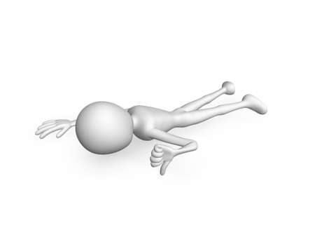 3d man prone and thumb down Stock Photo - 15854562