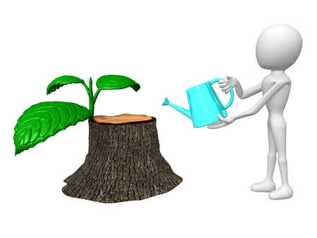 tree felling: 3d man watering the revive stump Stock Photo