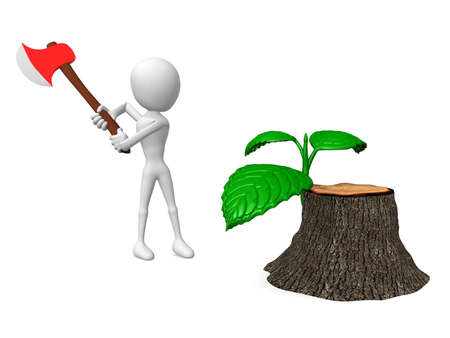 egoistic: 3d man Hold the axe and revive stump Stock Photo