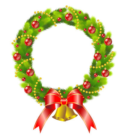 Christmas wreath and bell  Иллюстрация