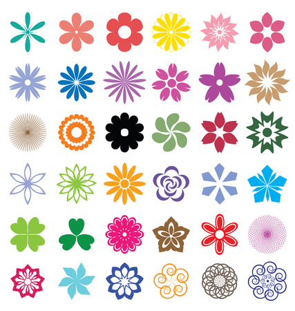 naturism: Set of flowers vector