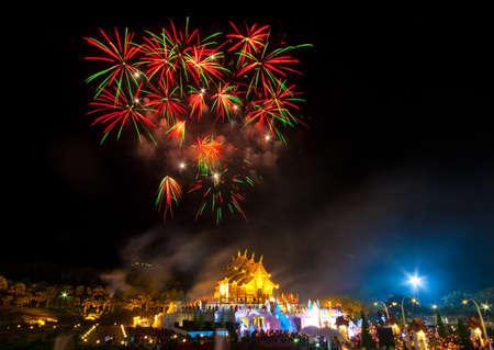 royal park: Firework at Royal Park Rajapruek  Chiang Mai, Thailand  Editorial
