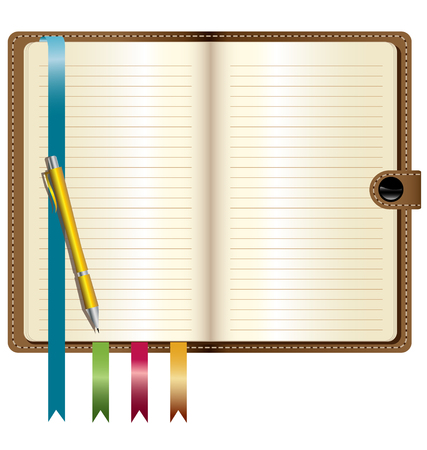 a leather notebook with Gold pen Vector