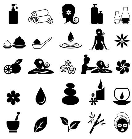 Spa pictogrammen op witte achtergrond Stock Illustratie