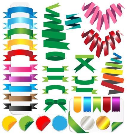 Vecter set of ribbons  Isolated on white background Illustration