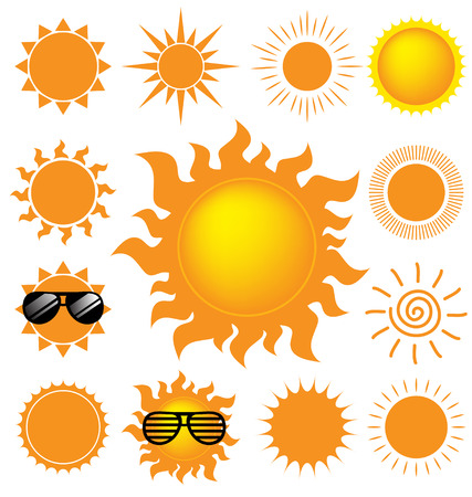 Vector set of the sun on white background