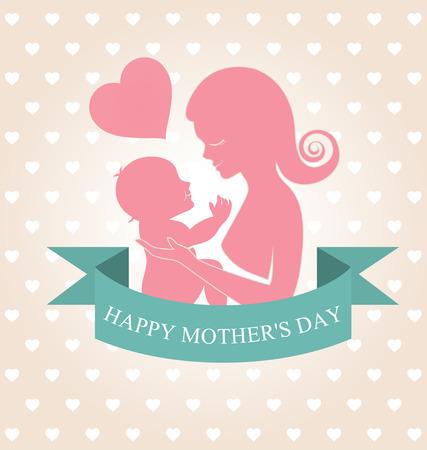 Madre che trasporta il suo bambino su sfondo cuore Archivio Fotografico - 28445357