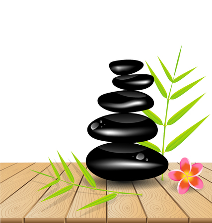 bamboo leaf: Hot stone massage on wooden table vector