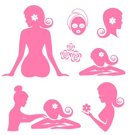 massage therapist: Spa woman  vector on white background Stock Photo