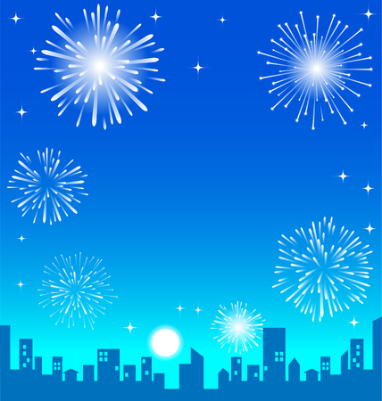 Fireworks over the night city vector background
