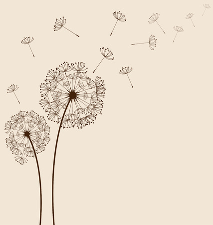 Dandelions on cream background  Иллюстрация