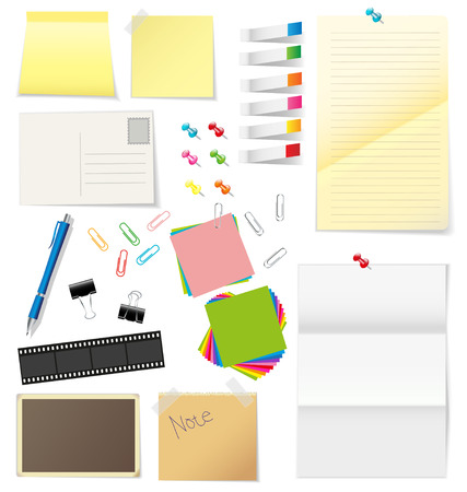 Paper and office supplies on white background Vector