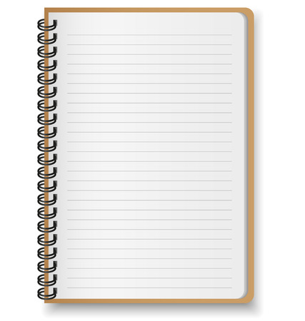 Paper notebook on white background Illustration