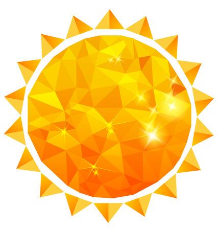 Polygonal sun background  Illustration