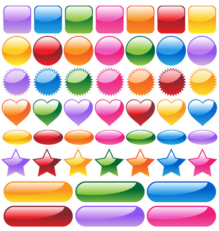 Set of colorful website buttons  Illustration