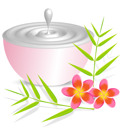 Beauty cream container on white background with flower and bamboo leaf