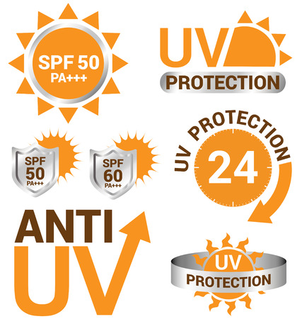 sun protection: Set of UV Sun Protection and anti uv Illustration