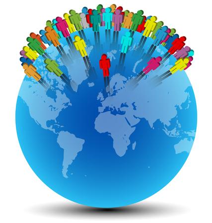 Símbolos humanos de colores colocados al azar en mundo azul