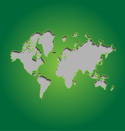 papery: World map on green backgroun Illustration