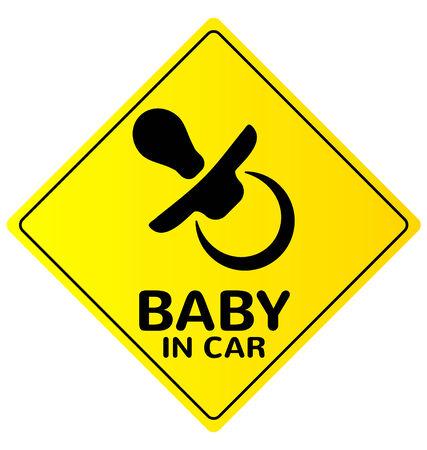 suckling: Bambino in automobile segno su sfondo bianco