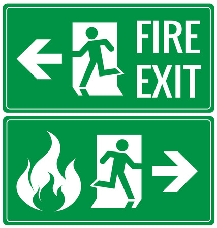 building fire: Emergency fire exit door signs