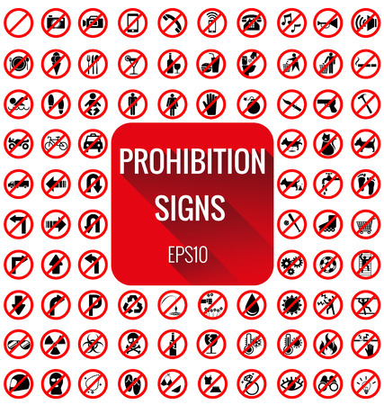 prohibido: Se�ales de prohibici�n vecter establecidos en el fondo blanco