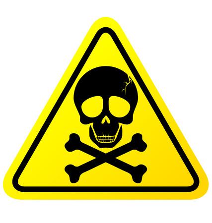 sustancias toxicas: Cráneo señal de peligro sobre fondo blanco Vectores