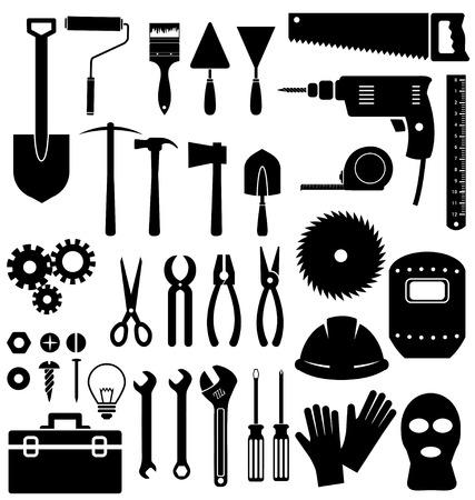 herramientas de mec�nica: Icono de herramientas en el fondo blanco Vectores