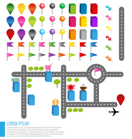 Map icons with buildings and Roads Illustration